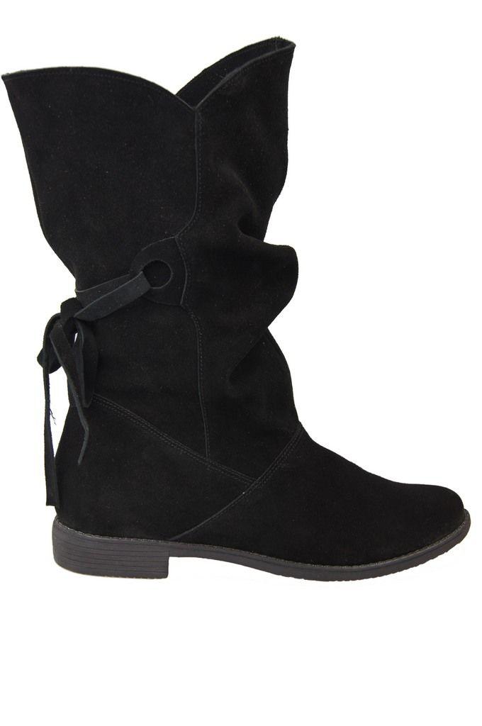 buty botki czarne skora