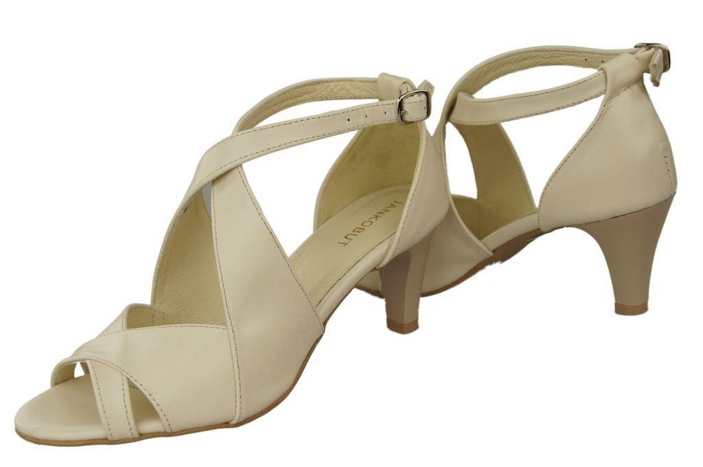 Obuwie Damskie Sandały Beż Skóra Naturalna 130 ElitaBut