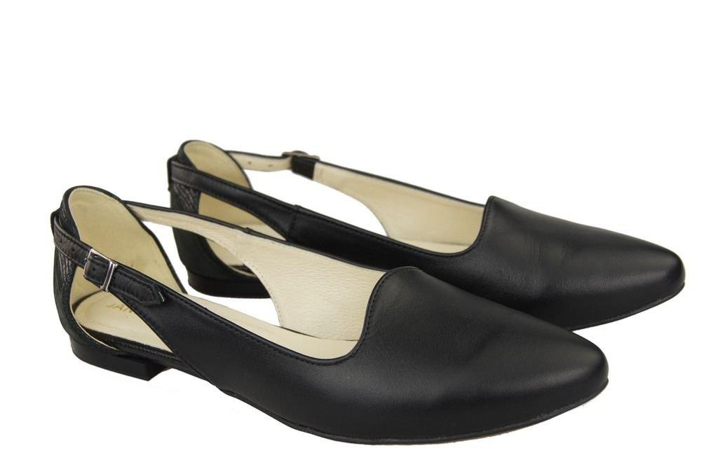 Sandały Damskie Czarne Skóra Naturalna 127